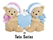 BABY'S FIRST OR 2ND  CHRISTMAS TWIN BEARS, BOTH BLUE
