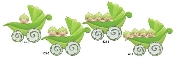 Baby Pea Pod Carriage Quadruplets Christmas Ornament RM123-4