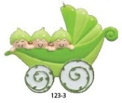 Baby Pea Pod Carriage Triplets Christmas Ornament RM123-3