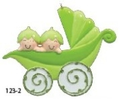 Baby Pea Pod Carriage Twins Christmas Ornament RM123-2
