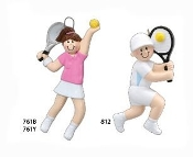 TENNIS GIRL BLONDE OR BRUNETTE PERSONALIZED ORNAMENT
