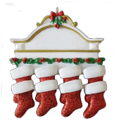 White Mantle Red Glitter Stocking Family of 8,  RM3-8