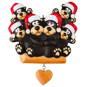 BLACK BEAR FAMILY OF 6 PERSONALIZED CHRISTMAS ORNAMENT