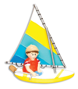 BLUE YELLOW SAILBOAT