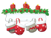 MITTEN FAMILY OF 4 PERSONALIZED CHRISTMAS ORNAMENT