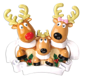 REINDEER FAMILY OF 3 W/SCARVES