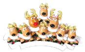 REINDEER FAMILY OF 8 W/SCARVES