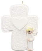 BOY ANGEL CROSS ORNAMENT