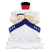 CRUISE SHIP FAMILY OF 4 TRAVEL PERSONALIZED ORNAMENT