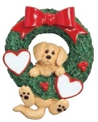 Golden Retriever in Wreath