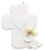 GIRL ANGEL CROSS PERSONALIZED ORNAMENT