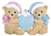 BABY'S FIRST OR 2ND CHRISTMAS TWIN BEARS, ONE PINK ONE BLUE