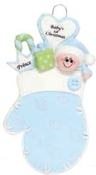 BABY'S FIRST CHRISTMAS MITTEN ORNAMENT BLUE RM911B
