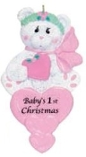 BABY'S FIRST CHRISTMAS BEAR PERSONALIZED ORNAMENT, PINK