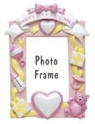 BABY'S FIRST CHRISTMAS PHOTO FRAME & ORNAMENT, PINK