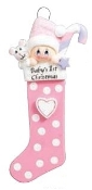 BABY'S FIRST CHRISTMAS STOCKING PERSONALIZED ORNAMENT, PINK