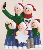 RM 1603-5 Selfie Family of 5 Personalized Ornament