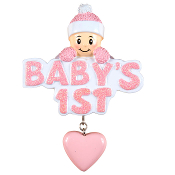 BABY'S 1ST CHRISTMAS HEART PINK  OR1175P