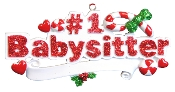 #1 BABYSITTER  Red Glitter Christmas Ornament OR741