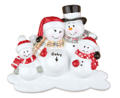 EXPECTING SNOWMAN FAMILY of 4