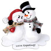 EXPECTING SNOWMAN Couple with pre-printed Words We're Expecting