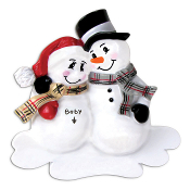 EXPECTING SNOWMAN Couple NO pre-printed Words -add you're choice