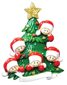 Family of 5 on a Christmas Tree