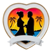 Destination Wedding Heart Couple Christmas Ornament OR1785