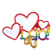 """I Do"" Hearts and Rainbow Wedding Christmas Ornament OR1454"