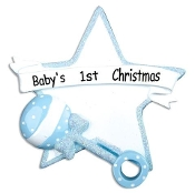 Baby's 1st Christmas Blue Star Rattle Ornament OR668B