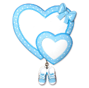 Blue Hearts with Booties Baby Christmas Ornament OR1443
