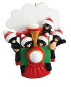 All Aboard Bear Train Family of 5 Christmas Ornament RM1211-5