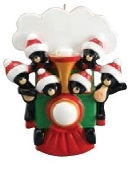 All Aboard Bear Train Family of 6 Christmas Ornament  RM1211-6