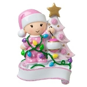 Baby Pink Decorating a Tree Christmas Ornament OR1847P