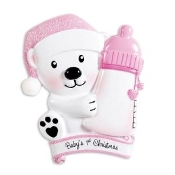 Baby Pink Bear with Bottle Christmas Ornament OR1425P