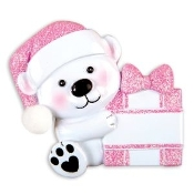 Baby Pink Bear with Package Christmas Ornament OR1424P