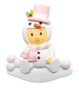 Baby Pink Snowman Costume Christmas Ornament OR1639P