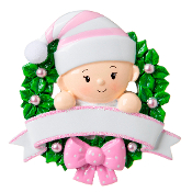 Baby Pink Wreath Christmas Ornament OR1746P
