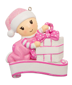 Baby Pink with Package Christmas Ornament OR1745P