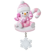 Baby Pink Candy Cane Snowflake Christmas Ornament OR1846P