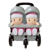 Baby Pink Twins in Stroller Christmas Ornament OR1748P