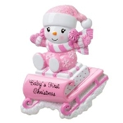 Baby Pink on Sleigh Christmas Ornament OR1742P