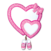 Baby Hearts with Booties Pink Christmas Ornament OR1443P