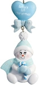 Baby Blue Candy Cane Snowbaby Christmas Ornament HH7B