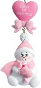 Baby Pink Candy Cane Snowbaby Christmas Ornament HH7G