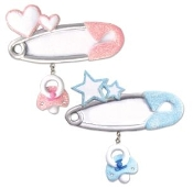 Baby Pink Safety Pin Christmas Ornament OR795P