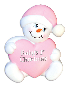 Baby Pink Snowman Christmas Ornament OR899P