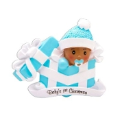 Baby Blue Ethnic African American Christmas Ornament AA1330B