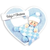 Baby Blue Heart with Blanket Christmas Ornament OR1339B