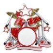 DRUM SET ORNAMENT, RED & SILVER GLITTER OR640